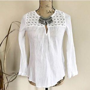 J. Crew crochet crepe blouse